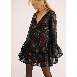 Free People Falling Flowers Black Sequin Dress